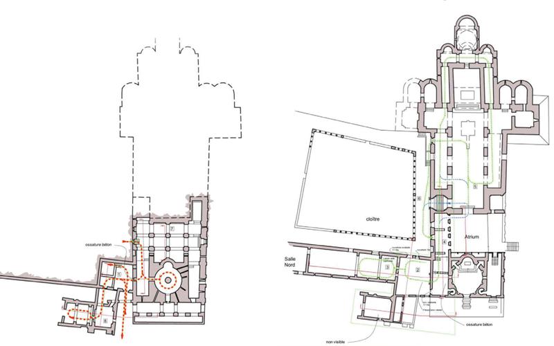 Plan de circulation : Crypte et 1er étage